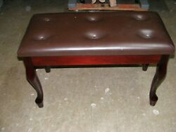 Mahogany Piano Bench With Queen Anne Legs But Missing A Button
