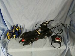Remote Control Batmobile, Batcycle W/ Sidecar And 2 Action Figures, Used But Works