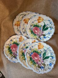 Set of 6 Vintage Italian Hand Painted Scalloped Floral 8quot; Bread Plate