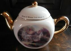 Collectible Thomas Kinkade Home Is Where The Heart Is Teapot Gold Trim
