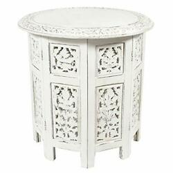 - Jaipur Solid Wood Handcrafted Carved Folding Accent Coffee Antique White