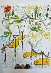 Dali Original Lithograph Hand Signed Numbered Imaginations Biological Garden And03975
