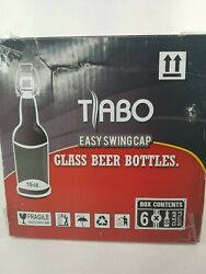 Tabo Swing Top Easy Cap Clear Glass Beer Bottles, Round, 16 Oz, Case Of 6