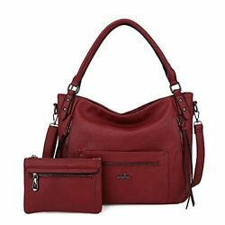 Angelkiss Hobo Shoulder Bags for Women Large Faux Leather Crossbody Purses Red $44.42