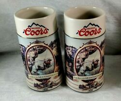 1994 Pair Of 7in Coors Rocky Mtn. Legend Series Beer Steins Free Shipping Gift