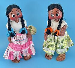 Vintage Ethnic Dolls Hungarian Roma Fully Jointed Primitive Folk Art 10.5 Tall