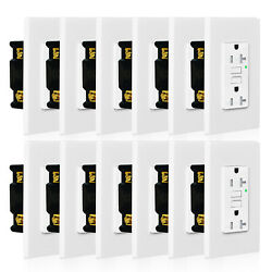 12pack 15a Gfci Safe Lock Tr Receptacle Outlet With Wall Plate Led Indicator Etl