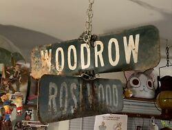 """Vintage Hand Painted Metal Street Signs Set Of 2, They're Each 24"""" X 6"""" Inches"""