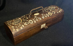Antique Regency Rosewood And Mop Glove Box C1830 With Key