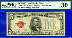 Total 9 Notes Graded - 1928-f 5 Us Note Wide Ii - Star Pmg 30 9637564a