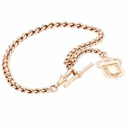 Antique 9ct Rose Gold 11 Rollerball Graduated Watch Chain W/ Fob Andt-bar 5-8mm