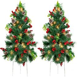 Christmas Tree Décor W/ Led Lights, Berries, Pine Cones, Ornaments Set Of 2