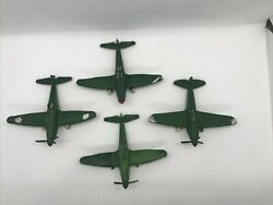 Vintage Thomas Toy Green Plastic P-40 And Defiant Fighter Airplanes Lot Made Inusa