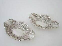 Antique Victorian Sterling Silver Bon Bon Dishes - 1900 By Elkington And Co.