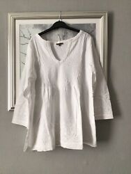 """100 Cotton Ladies White Top From Jigsaw Large Pit To Pit 22"""" Ex High Stree"""