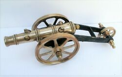 Vintage Brass And Cast Iron 11 3- Wheel Toy Signal Cannon