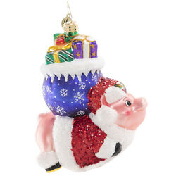 Christopher Radko New When Pigs Fly Glass Christmas Ornament 1020816