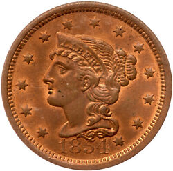 1854 N-2 Pcgs Ms 64 Rb Braided Hair Large Cent Coin 1c