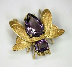 Antique Estate Signed Shreve And Co.18k Yellow Gold Amethyst Figural Insect Pin