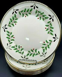 Rare Set Of 6 Lenox Dimension Collection Holiday 'pierced' Holly Plate Gold Edge