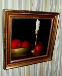 Konkel Original Still Life Oil Painting Of Apples And Candle. Incredible Detail.