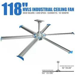 118 Big Industrial Indoor Ceiling Fan 110v 10-110rpm For Commercial Residential