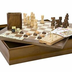 7-in-1 Classic Wooden Board Game Set – Old Fashioned Family Game Night Cards,