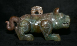 8.4 Old Chinese Han Dynasty Hetian Jade Carved Tiger Beast Zun Drinking Vessel