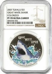 2007 Tuvalu Great White Shark Silver Dollar S1 Gem Proof Ngc Pf70 Ultra Cameo