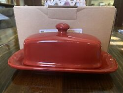 Longaberger Pottery Woven Traditions Tomato Red Covered Butter Dish
