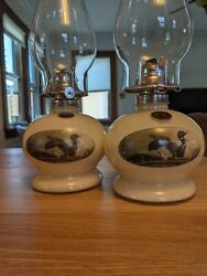 Set Of 2 Vintage Lamplight Farms Loon Oil Lamps Free Shipping