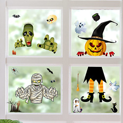 Halloween Window Stickers Glass Clings Removable Decals Kits Adults Decorations