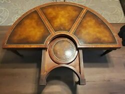 Weiman Demi Lune Leather And Mahogany Flip Console Table