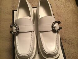 New W/b/t Womenandrsquos White Tiger Head Leather Platform Loafers G 40 Us 10