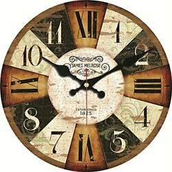 12 Inch Big Numerals Wall Clocks Vintage Rustic Country Wooden Silent Non Ticki