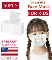 50 PCS Children Face Mask Disposable 3 Ply Mouth Cover Child Kids Size White