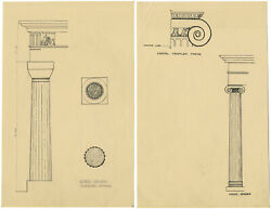 Greek Architectural Order Doric And Ionic Columns – C.1920s Pen And Ink Drawing