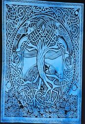 Tree Of Life Design Small Tapestry Blue Color Poster Wall Hanging Beautiful Art