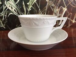 Kpm Berlin,kurland In White - Classy Office Cup With Saucer 13.5oz New