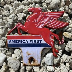 Vintage Mobil Tin License Plate Topper Pegasus America First Gas Oil Rare Sign
