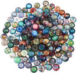Ultnice 200pcs Cabochons Round Mosaic Tiles For Crafts Glass Mosaic For Jewelry