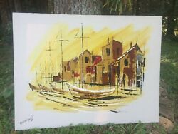 Vintage Abstract Oil Painting Artist Signed Rodriguez Sailboats At Port