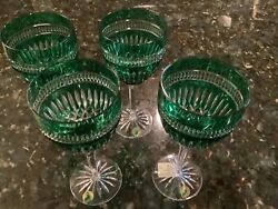 Waterford Emerald Green Cut To Clear Goblets