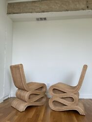 Pair Pencil Reed High Back Wiggle Chairs
