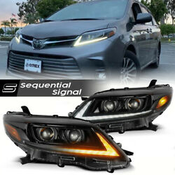 For 11-20 Toyota Sienna Alpha Black Housing Led Drl Sequential Signal Headlight