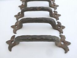 6 Authentic Vintage Antique Forged Iron Cabinet Drawer Pulls Gothic Blacksmith