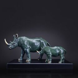Fengshui Home Decoration Color Copper Brass Ox Rhinoceros Ox Marble Sculpture