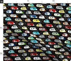 Tiny Trailer Black Camping Travel Vacation Spoonflower Fabric By The Yard