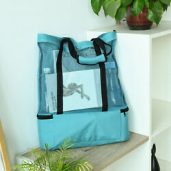 1pc Mesh Beach Tote Bag with Zipper Top and Insulated Picnic Cooler Green $16.28