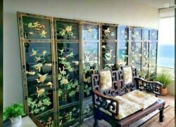 Vintage Japanese Black Laquer Screen Room Divider Lucky Crane Mother Of Pearl
